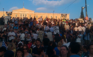 Protesters in front of the Parliament